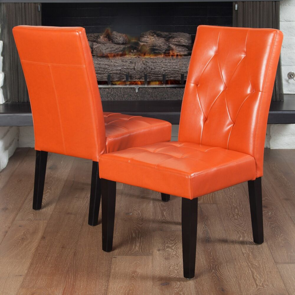 Set Of 2 Contemporary Orange Leather Dining Chair W Tufted