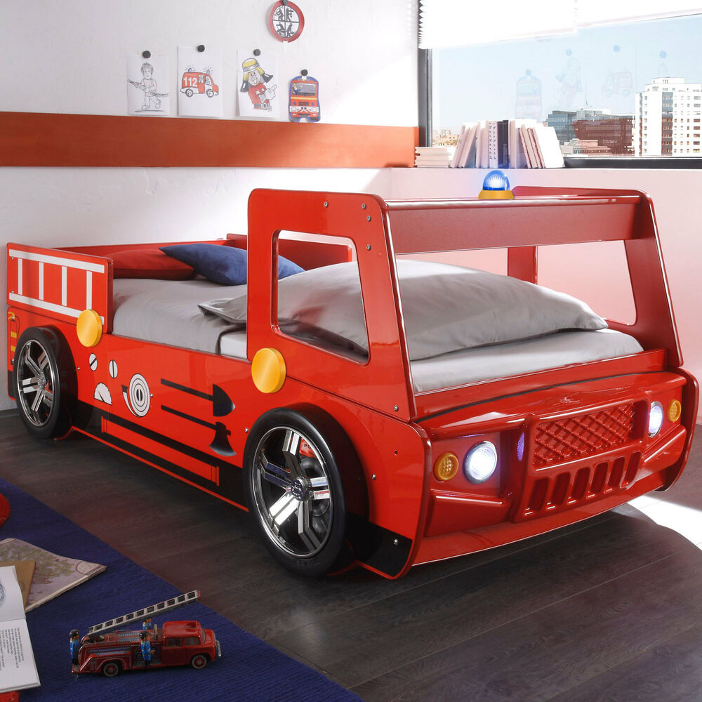 feuerwehrbett spark kinderbett bett spielbett rot lackiert. Black Bedroom Furniture Sets. Home Design Ideas