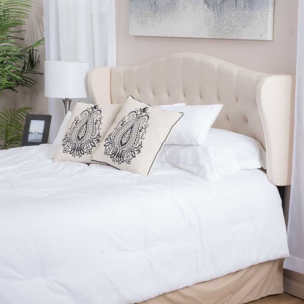 contemporary adjustable beige fabric headboard for full queen ebay. Black Bedroom Furniture Sets. Home Design Ideas
