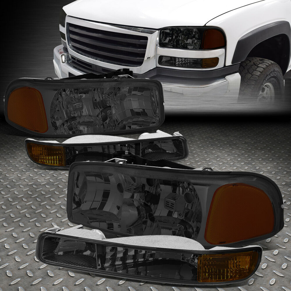 Smoked Housing Crystal Headlight Amber Bumper Light For 99