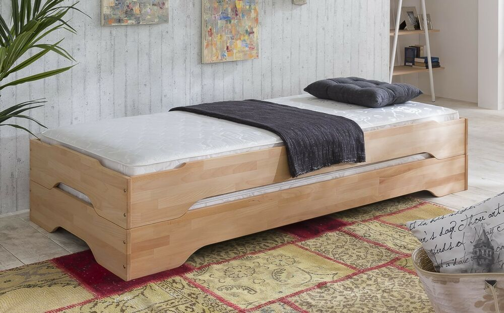 stapelbett g stebett 2x betten je 100x200 kernbuche buche massiv 2 einzelbetten ebay. Black Bedroom Furniture Sets. Home Design Ideas
