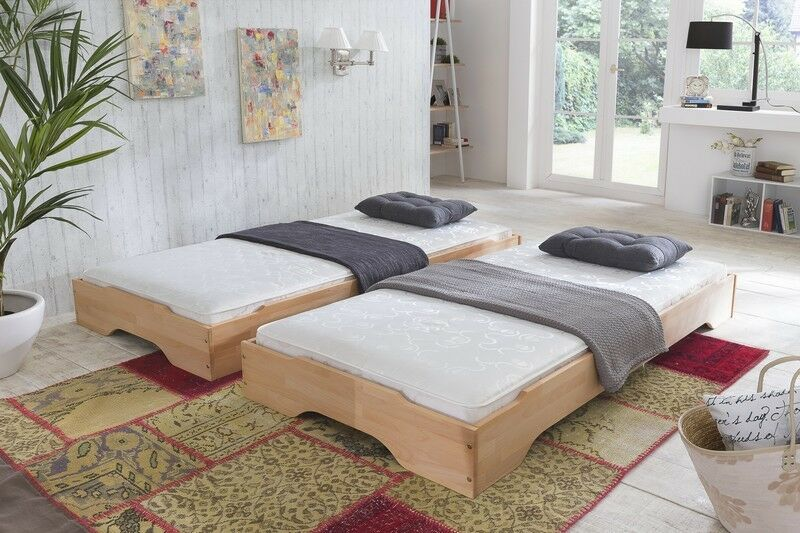 stapelbett set g stebetten zwei betten 90x200 kernbuche massiv mit 2 matratzen ebay. Black Bedroom Furniture Sets. Home Design Ideas