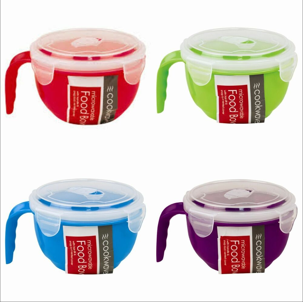 MICROWAVABLE FOOD BOWL VENTED LID CLIP LOCK CONTAINER STORAGE DISH SOUP POT | eBay