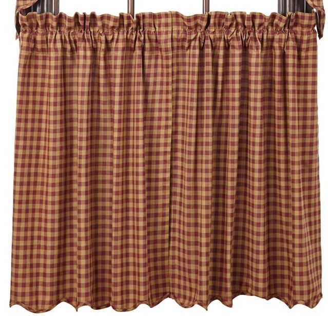 Country Primitive Burgundy Check Scalloped Tiers 36