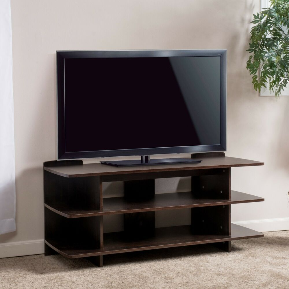 entertainment center 3 tier dark walnut wood media console. Black Bedroom Furniture Sets. Home Design Ideas