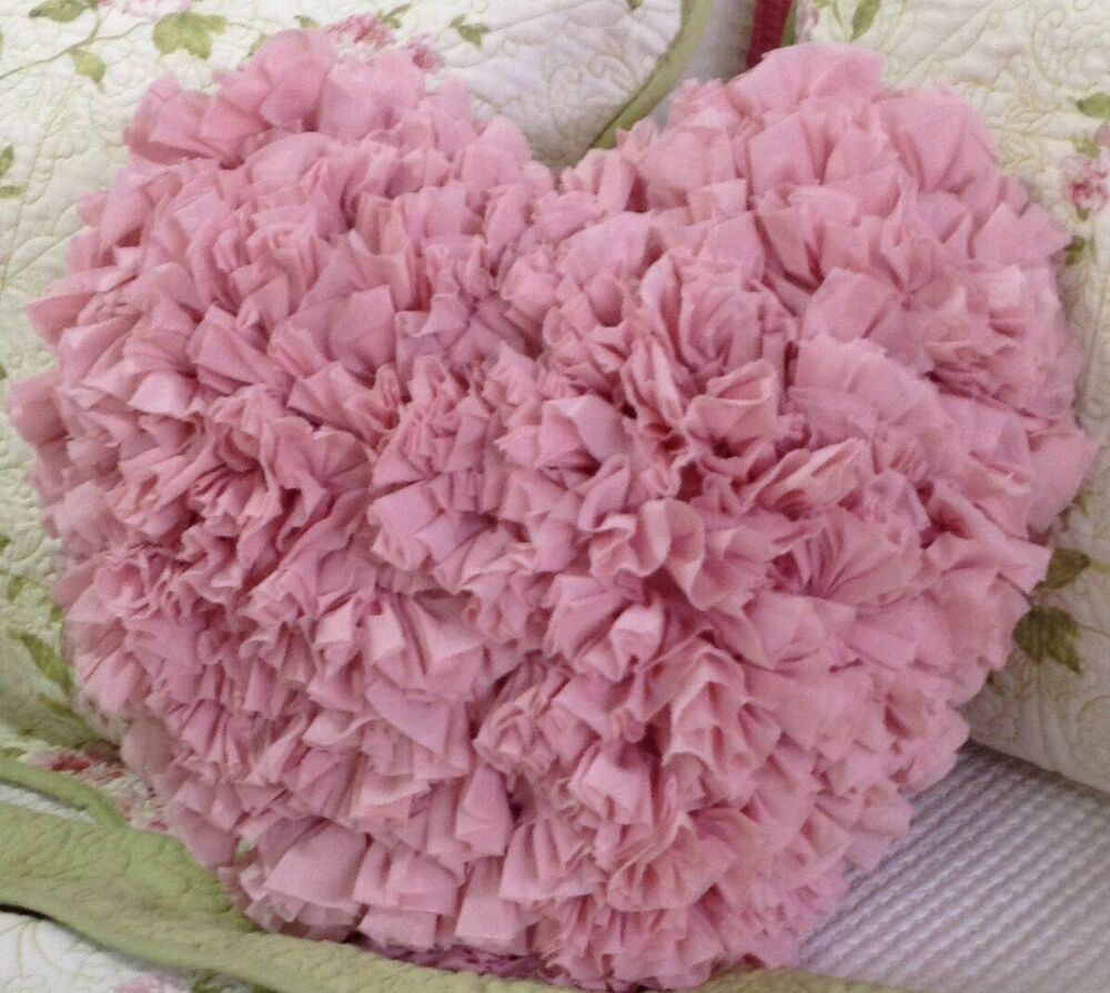 shabby chic ruffle heart cushion throw pillow pink. Black Bedroom Furniture Sets. Home Design Ideas