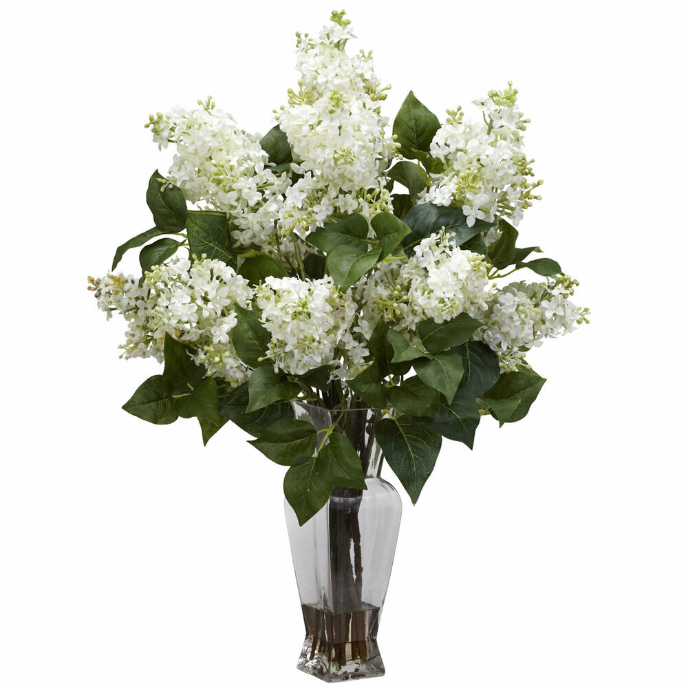 24 white silk floral lilac flower arrangement w clear - Flower arrangements for vases ...