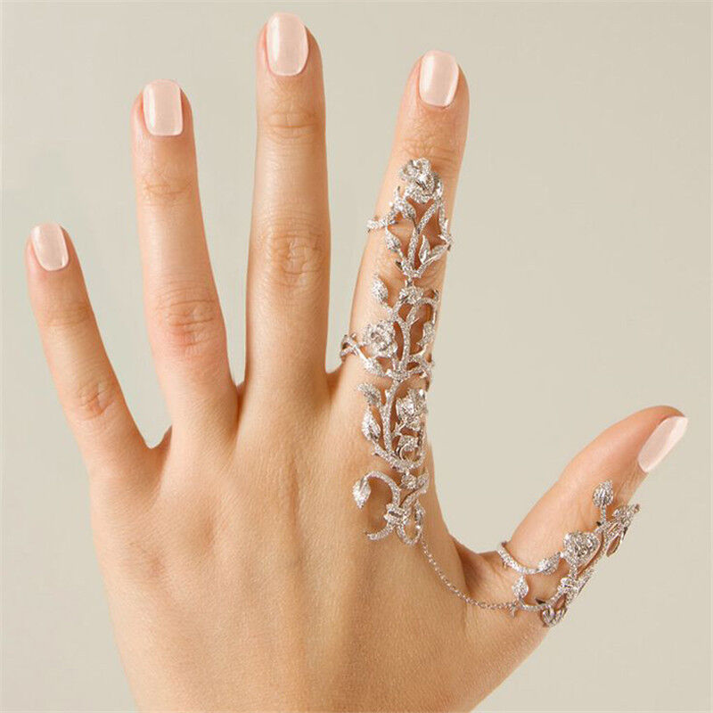 Women multiple finger stack knuckle band crystal ring set What finger to wear a ring on female