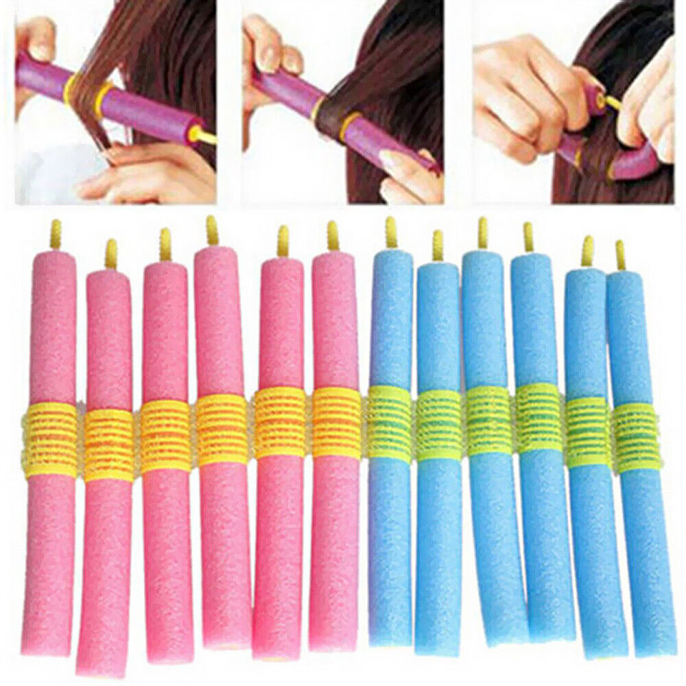 12x bendy flexi rod curly rollers flexirod hair soft twisty foam curlers sponge ebay. Black Bedroom Furniture Sets. Home Design Ideas