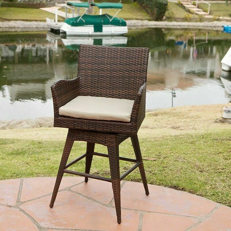 Outdoor Patio Furniture All Weather Brown PE Wicker Swivel  : s l1000 from www.ebay.com size 800 x 800 jpeg 162kB
