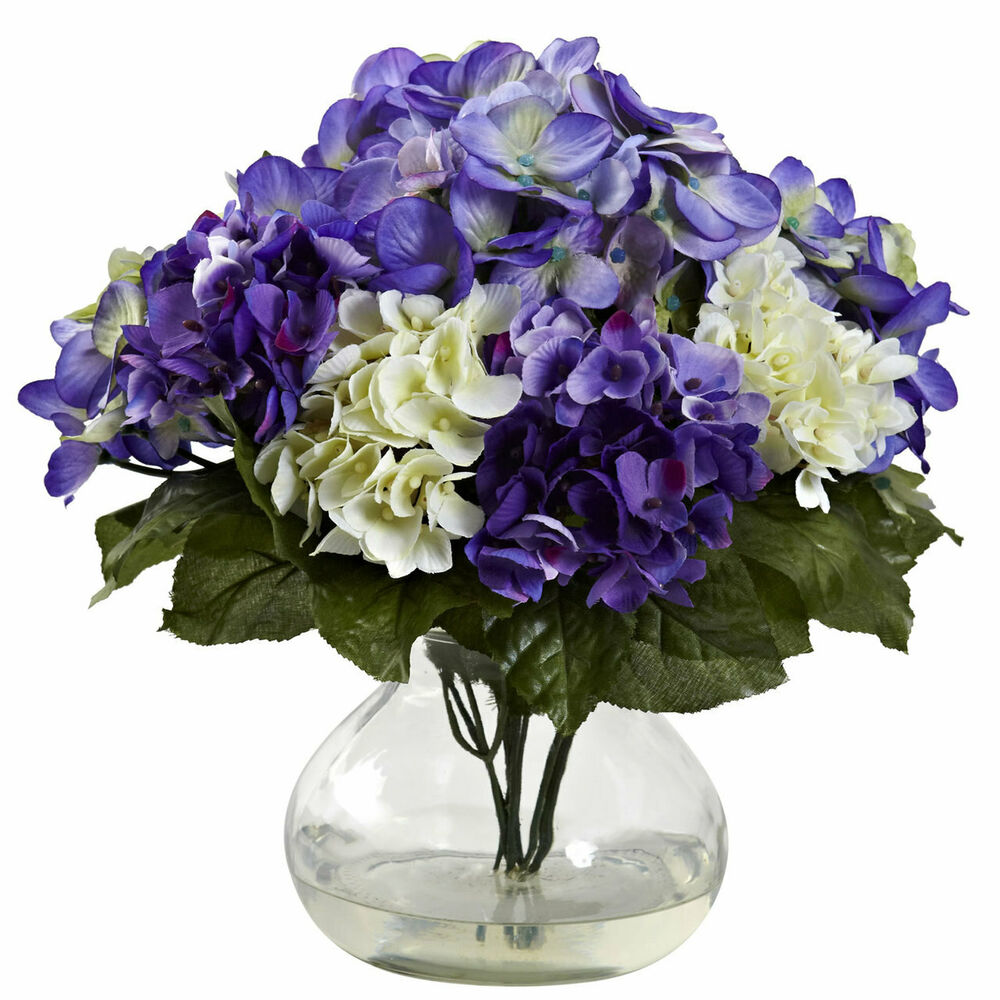 11 blue purple silk hydrangea artificial floral fake. Black Bedroom Furniture Sets. Home Design Ideas