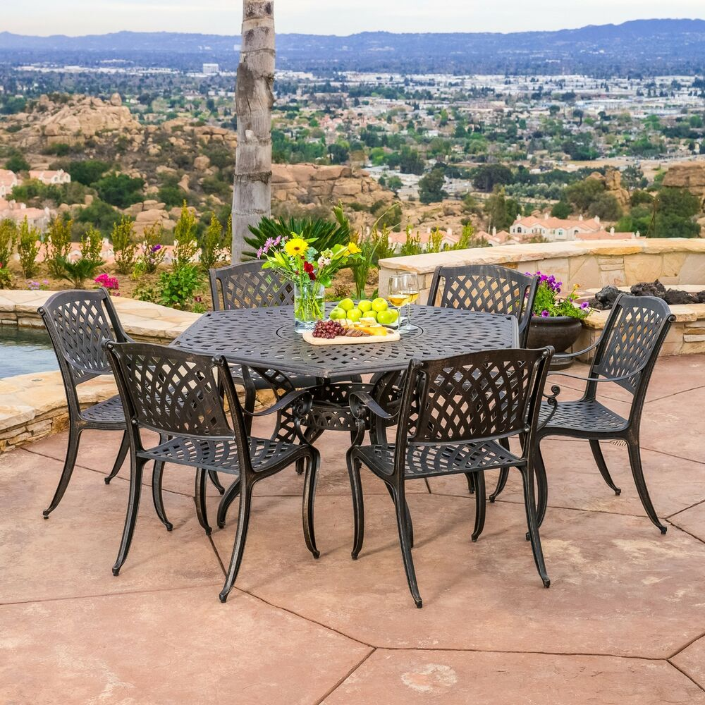 Outdoor patio furniture 7pcs bronze cast aluminum hexagon for Outdoor patio dining