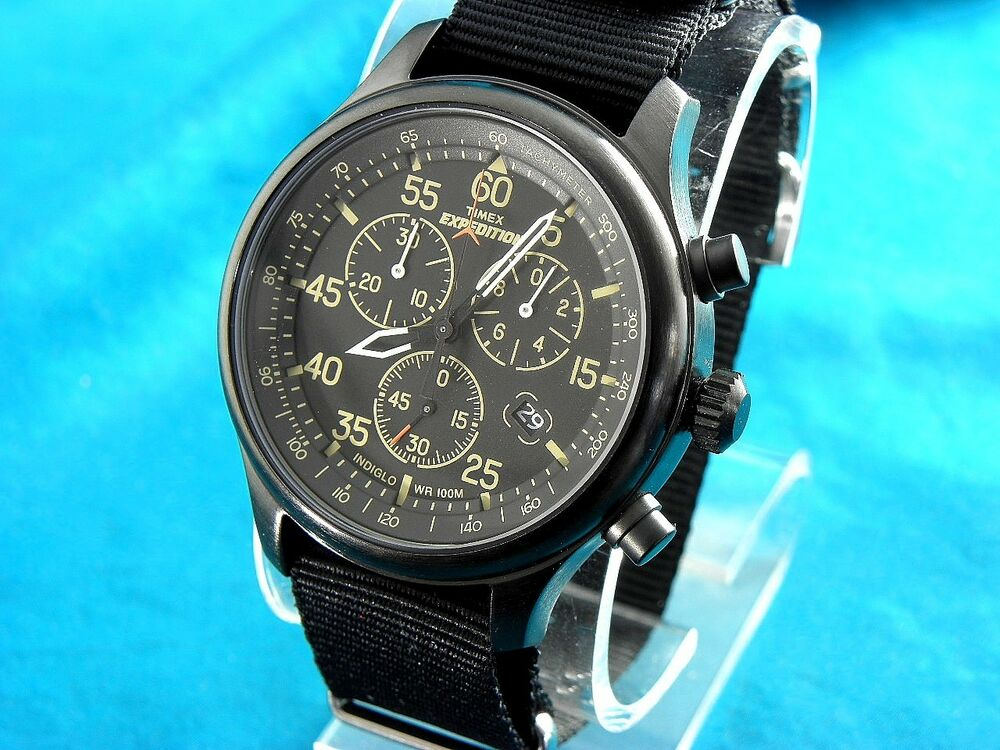mens timex black chronograph tacymeter great detail