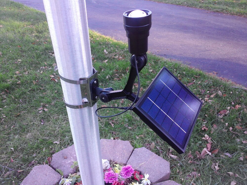 Premium 350 Lux Led Solar Flagpole Light With Zoom Feature