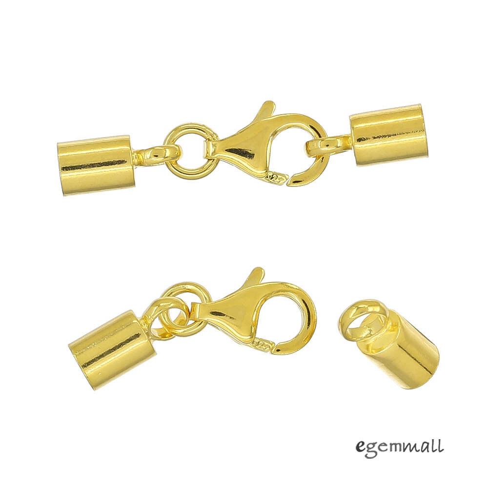 22kt Gold Platinum: 2x 22kt Gold Plated Sterling Silver Lobster Clasp Leather