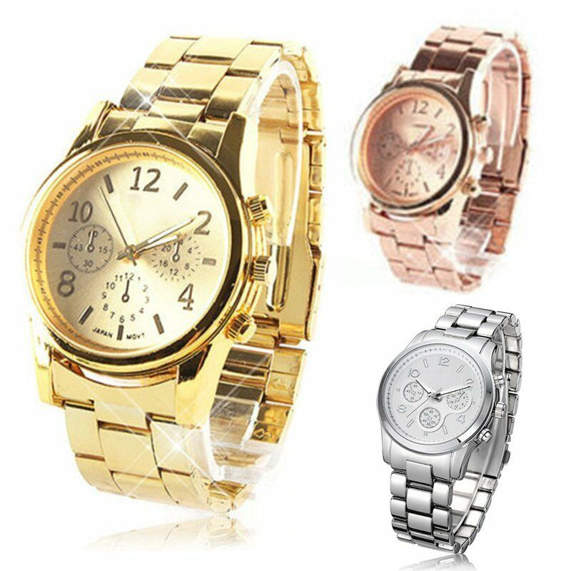 Geneva fashion women ladies girl stainless steel band analog quartz wrist watch ebay for Watches geneva