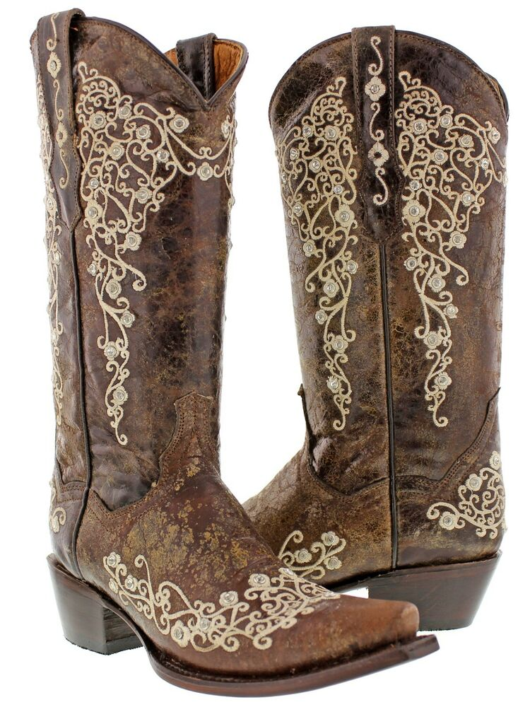 Women's Brown Abilene Leather Western Cowboy Boots Rhinestones ...