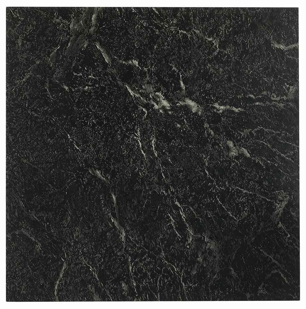 Achim 12 inch nexus marble black with white vein vinyl for Black vinyl floor tiles
