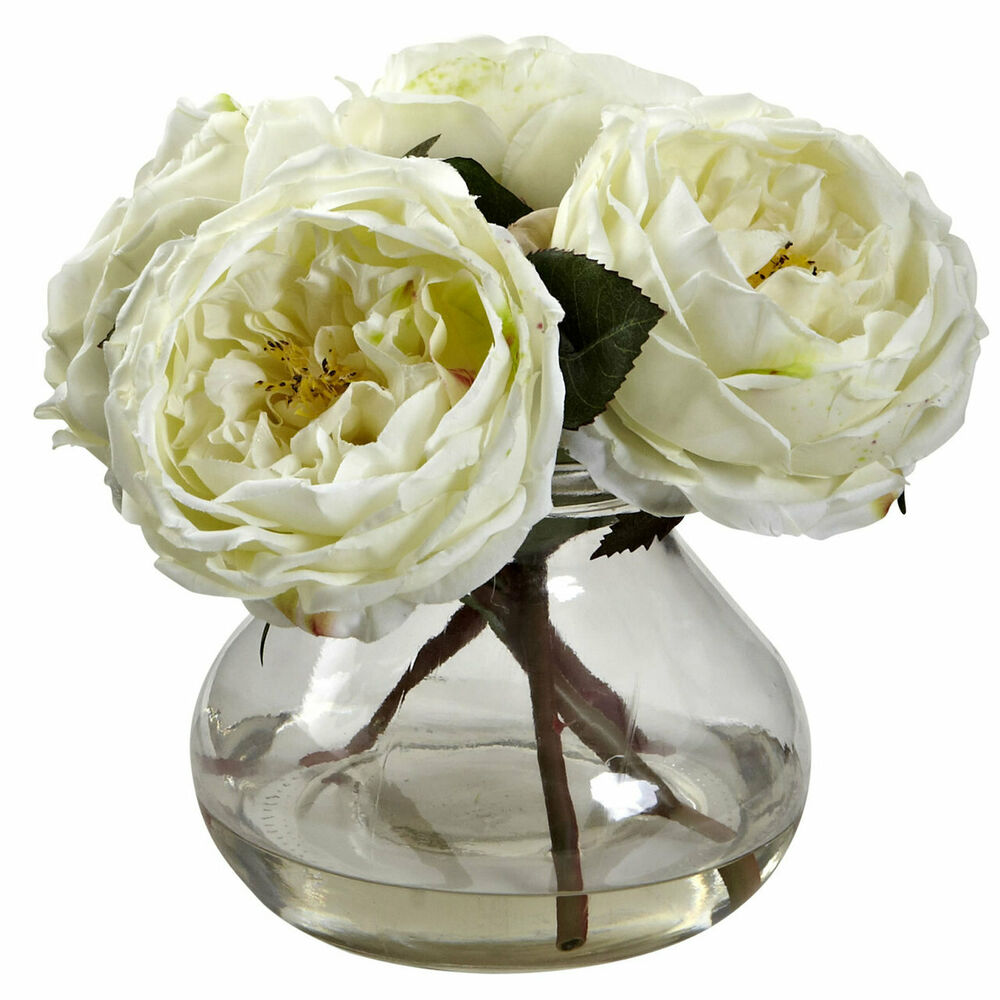 Artificial white rose silk flower floral arrangement small for Small rose flower arrangement