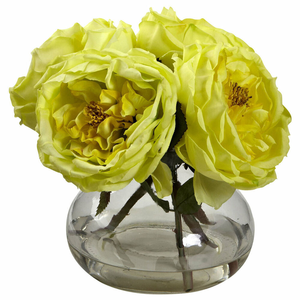 Yellow artificial rose silk flower floral arrangement for Small rose flower arrangement