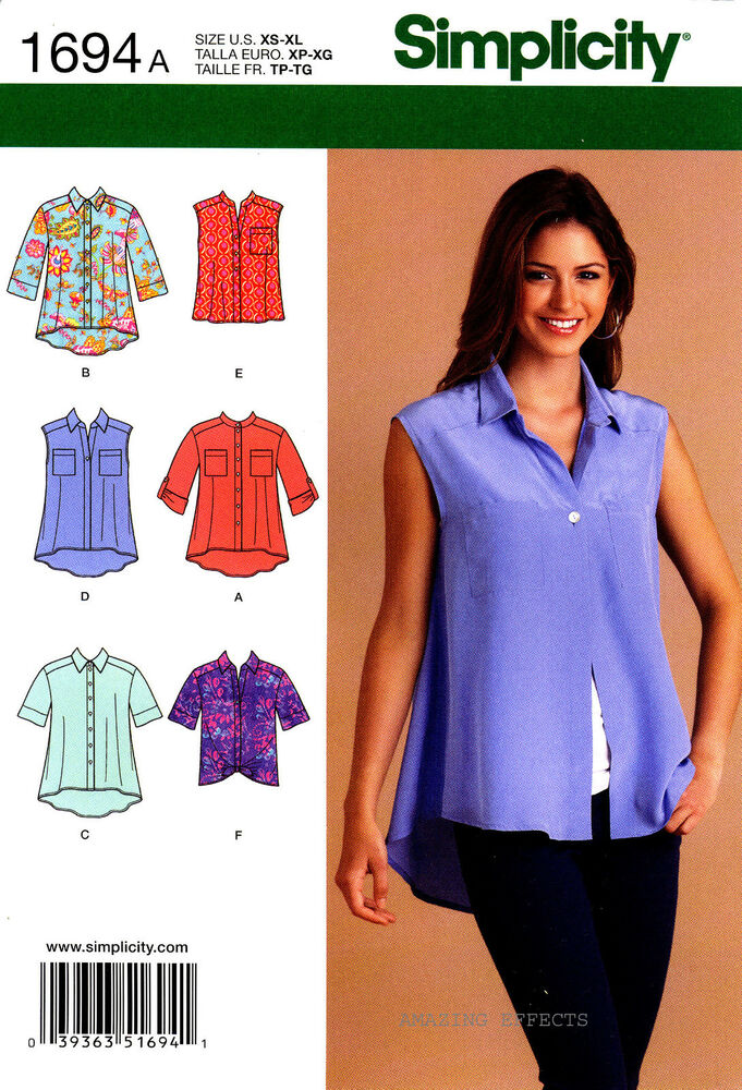 Simplicity sewing pattern 1694 women 39 s tops shirt blouse for Pattern shirts for women
