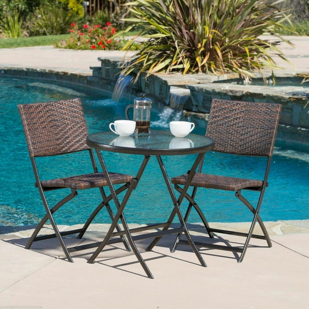 Outdoor patio furniture 3pc brown pe wicker folding bistro for Garden patio sets