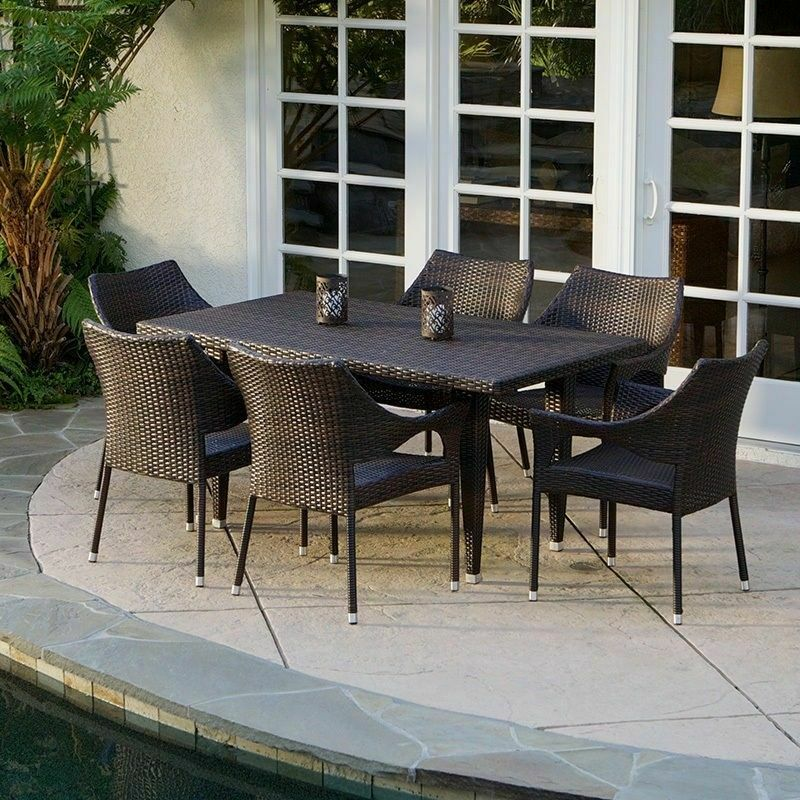 7 Piece Outdoor Patio Furniture Elegant Brown All weather Wicker Dining Set