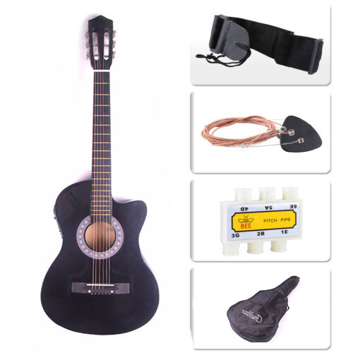 Electric Acoustic Guitar Cutaway Design With Guitar Case, Strap  Black New