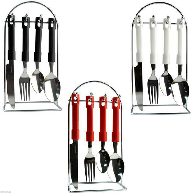 24 piece stainless steel cutlery set knives forks spoons teaspoons 6 people new ebay - Knives and forks sets ...