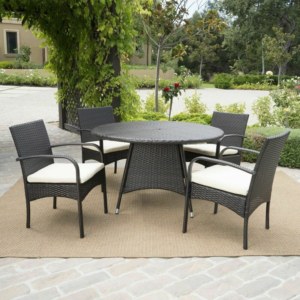 5 Piece Outdoor Patio Furniture Multi Brown Wicker Round Dining Set