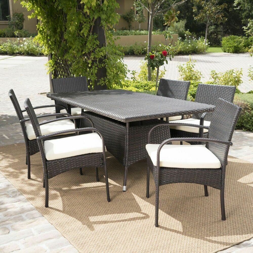 7 Piece Outdoor Patio Furniture Multibrown Wicker Long Dining Set W Cushions Ebay