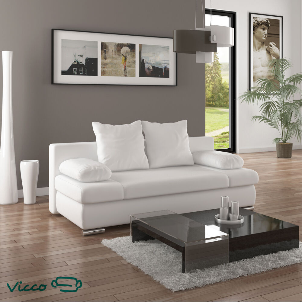 vicco schlafsofa couch sofa pu leder chicago federkern schlafcouch bett wei ebay. Black Bedroom Furniture Sets. Home Design Ideas