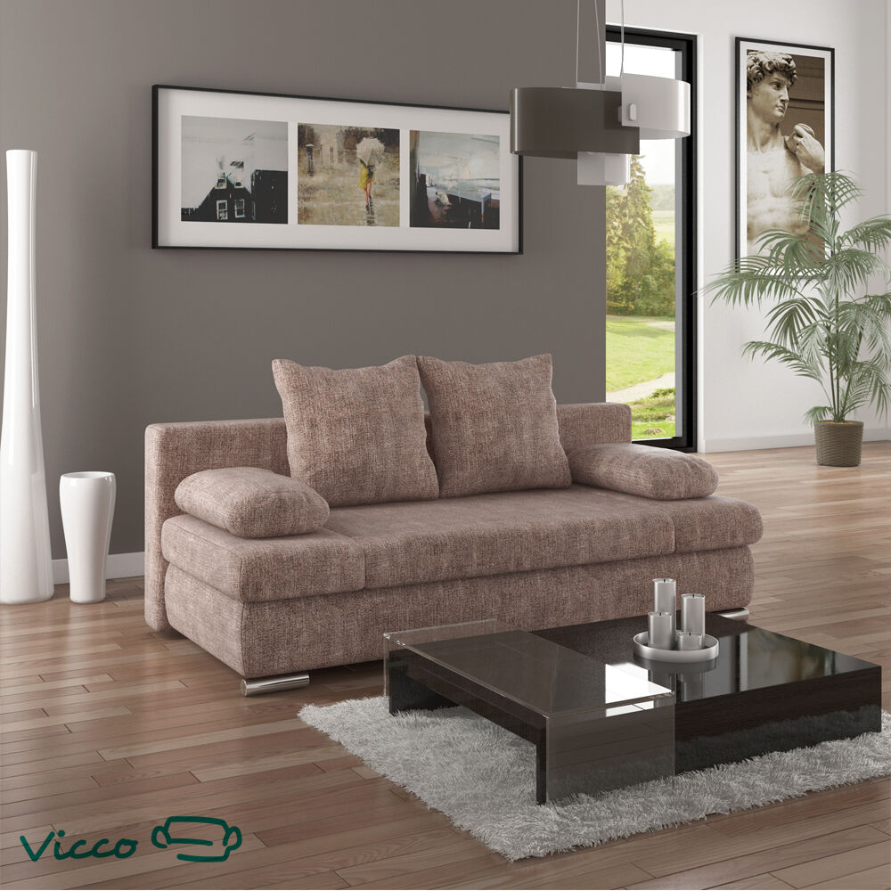 vicco schlafsofa sofa schlafcouch couch chicago federkern 200x95 beige g stebett ebay. Black Bedroom Furniture Sets. Home Design Ideas