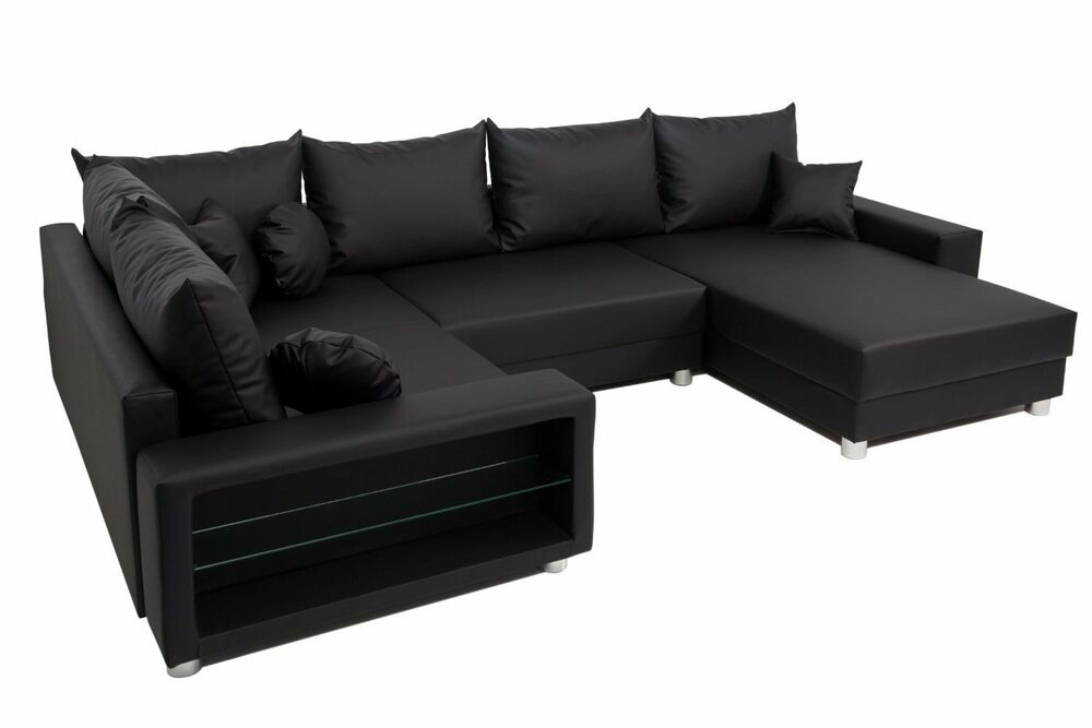 vicco sofa wohnlandschaft ecksofa colorado led u form pu leder schwarz couch ebay. Black Bedroom Furniture Sets. Home Design Ideas