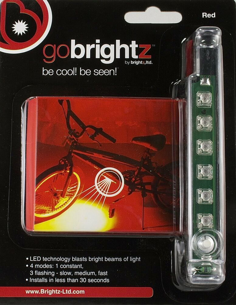 go brightz red led night light strip safety bright bicycle bike cycling scooter ebay. Black Bedroom Furniture Sets. Home Design Ideas