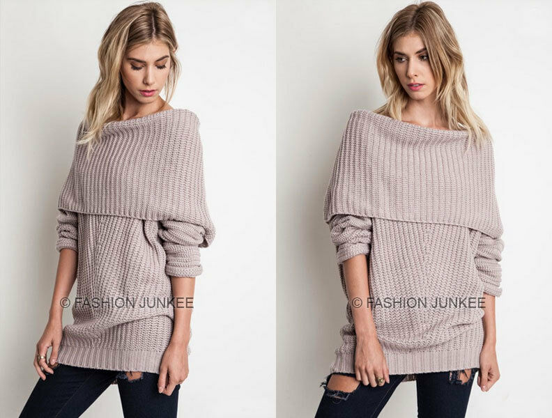 49c9b978a94 Details about TAUPE (08) FOLDOVER SWEATER Top Chunky Knit Off the Shoulder  Boat Neck NEW S M L