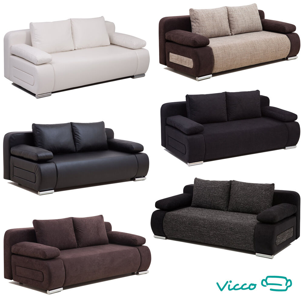 Vicco schlafsofa couch federkern schlafcouch bettkasten for Couch schlaffunktion bettkasten