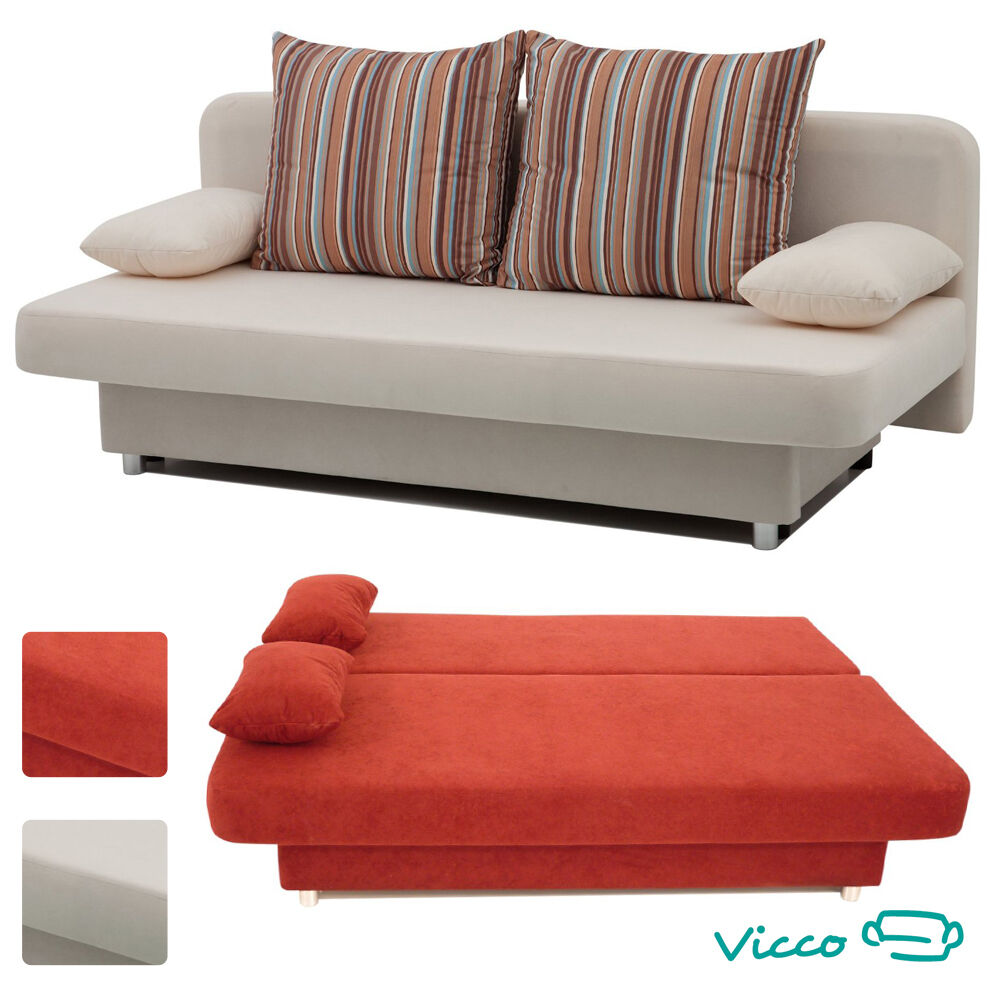 vicco schlafsofa couch sofa orlando g stebett bett beige oder rot ebay. Black Bedroom Furniture Sets. Home Design Ideas