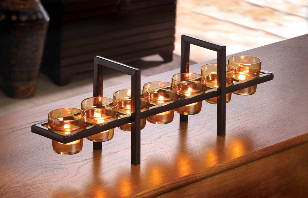 Industrial modern art fireplace long centerpiece