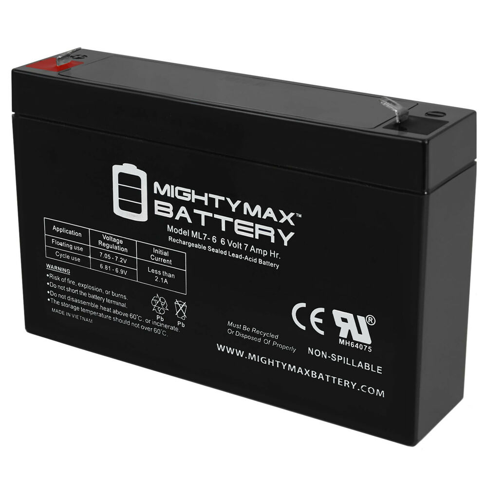 mighty max 6v 7ah sla battery replaces 6v mini cooper s. Black Bedroom Furniture Sets. Home Design Ideas