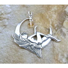 Sterling Silver Pendant - FAIRY on the MOON w/ Crystal -1105