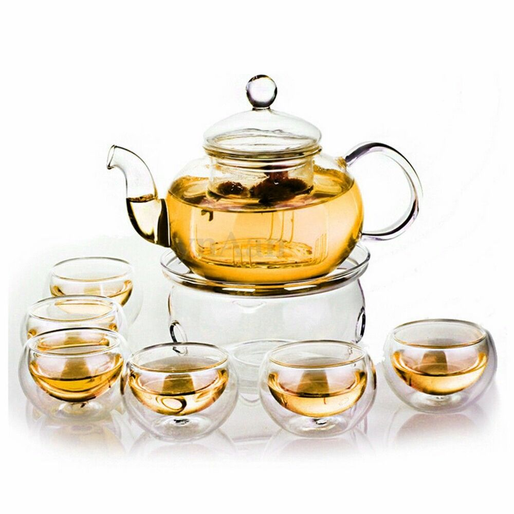 borosilicate glass tea pot set infuser teapot warmer 6 double wall tea cups ebay. Black Bedroom Furniture Sets. Home Design Ideas