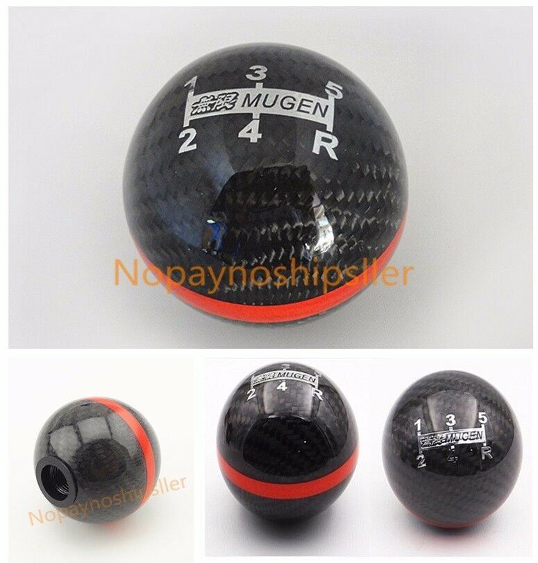 jdm racing shift knob black real carbon fiber mugen  speed  civic wrx sti ebay