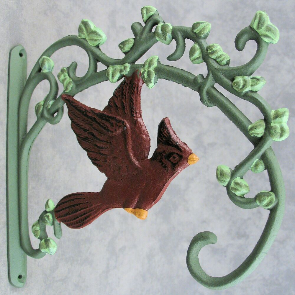 Red Cardinal Bird Cast Iron Wall Bracket Plant Hanger