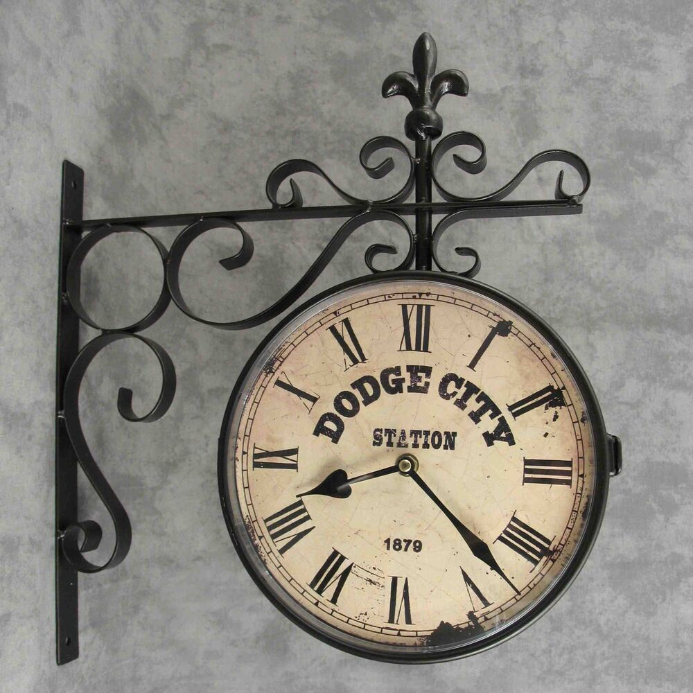 Dodge city train station double sided wall clock w fleur de lis dodge city train station double sided wall clock w fleur de lis wall bracket ebay amipublicfo Images