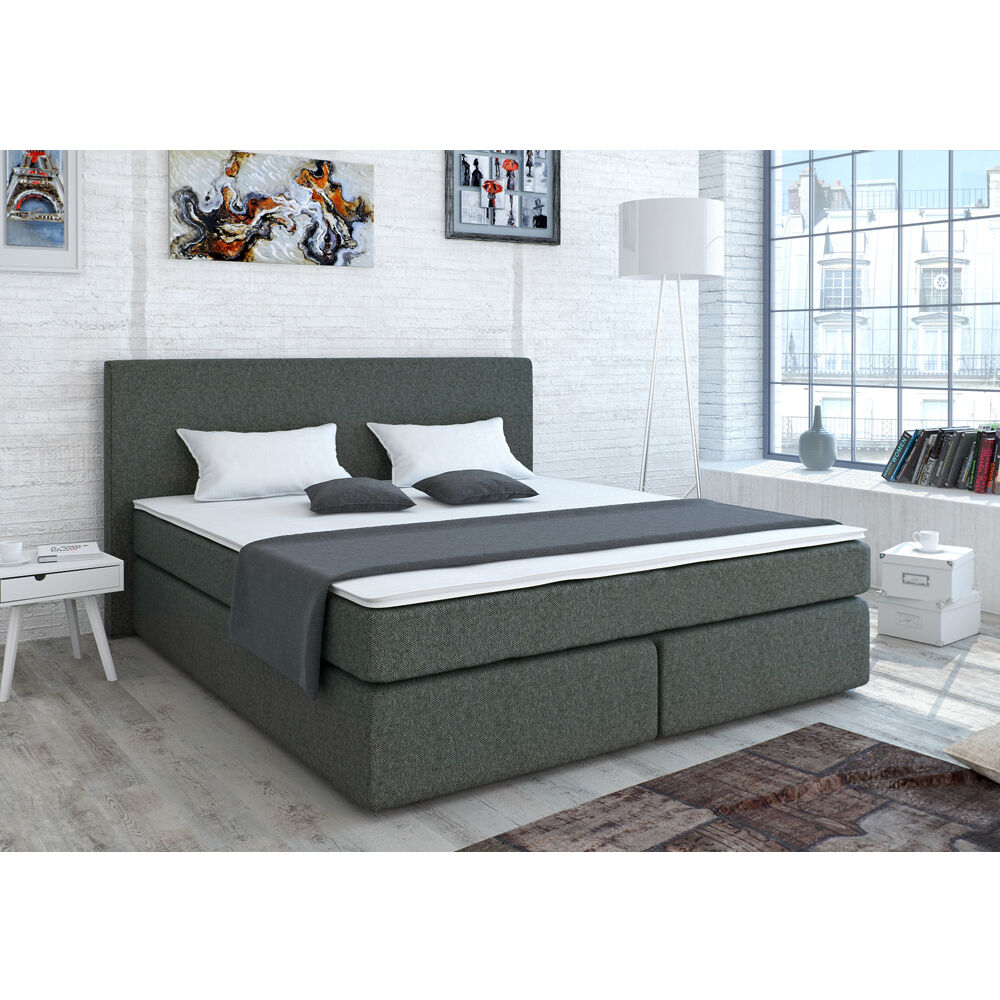 designer boxspringbett bett doppelbett ehebett hotelbett stoff grau 180x200 cm ebay. Black Bedroom Furniture Sets. Home Design Ideas