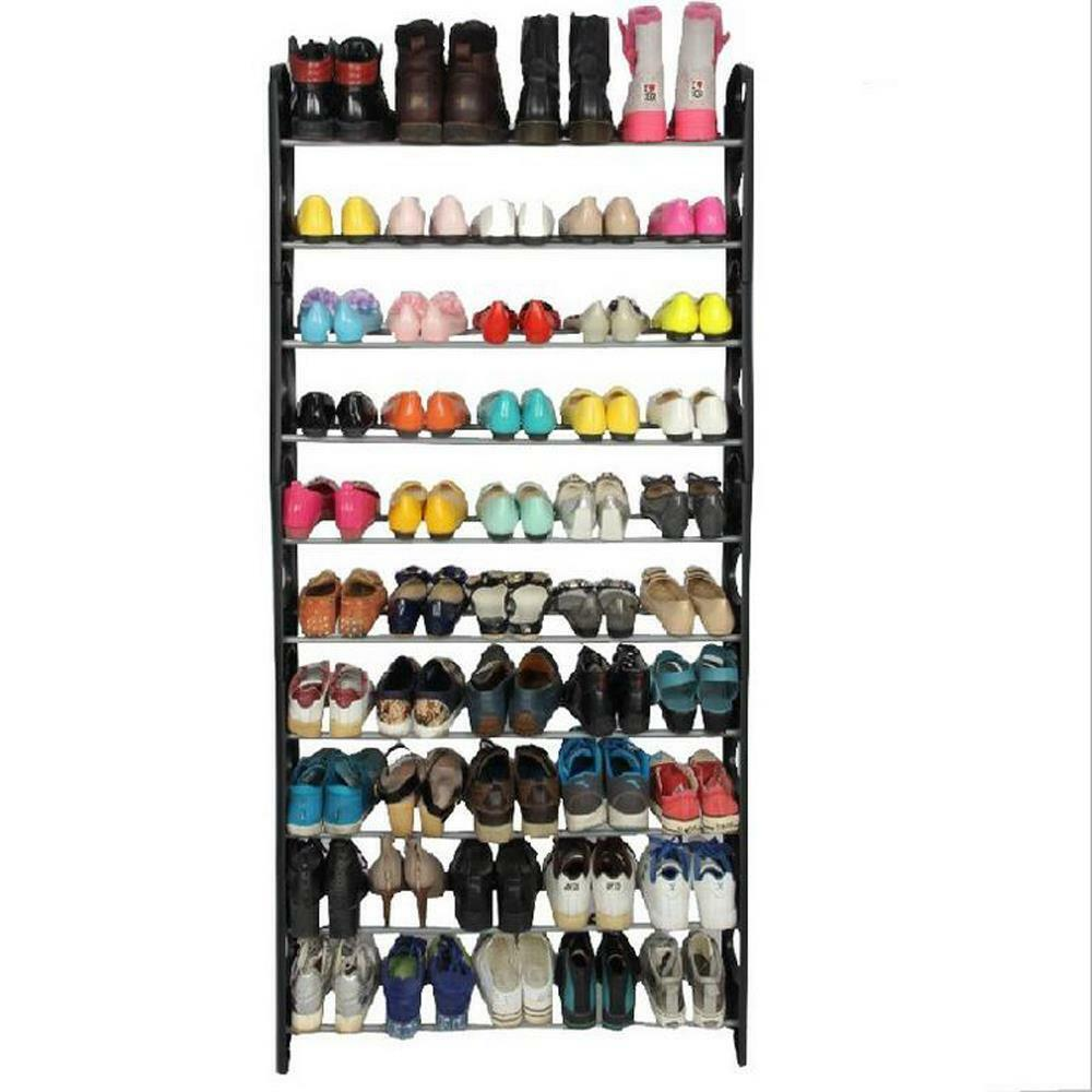 Make sure this fits by entering your model number. Freestanding vertical chrome shoe rack provides great storage and organization for any room Smooth rolling locking wheels; portable rack can easily move from one room to another.