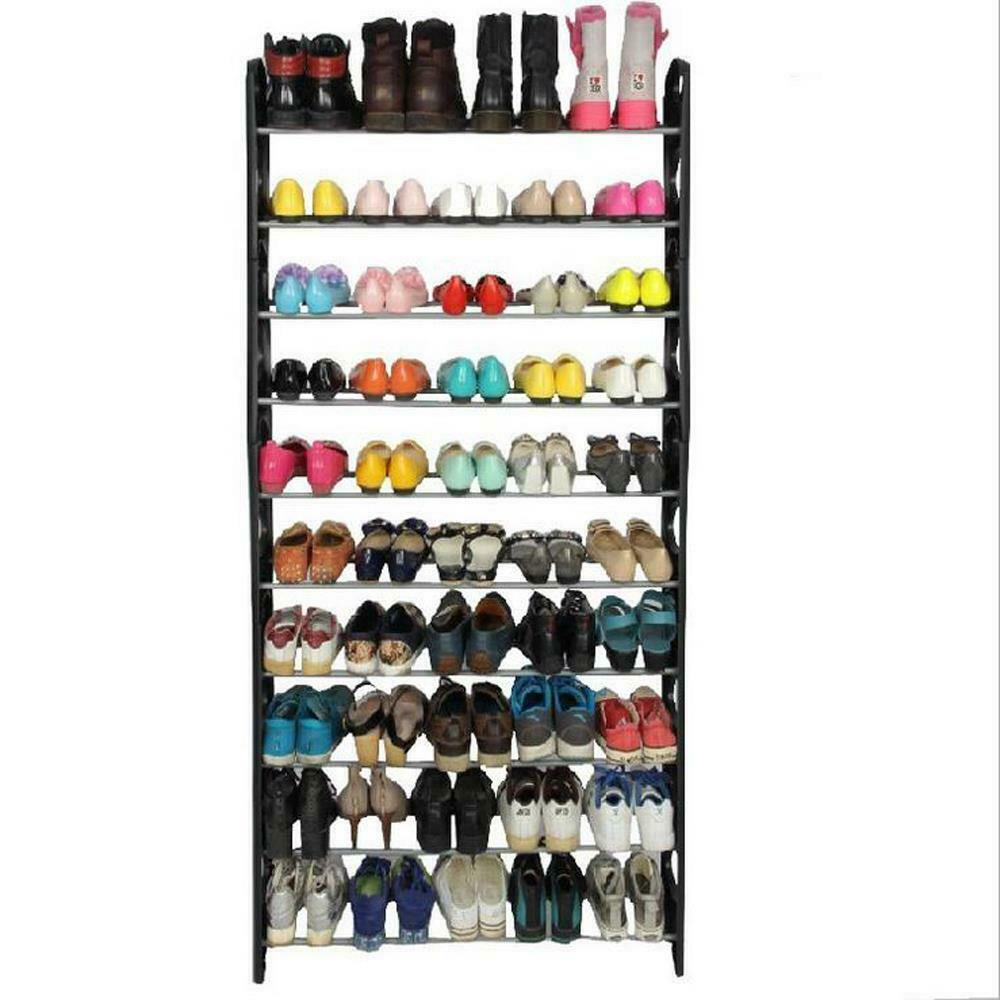 50 Pair 10 Tier Shoe Tower Rack Organizer Space Saving Shoe Rack Stainless Steel
