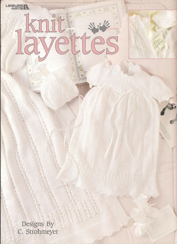 Knit Layettes LA3191 knitting patterns for baby christening gowns bonnet blan...