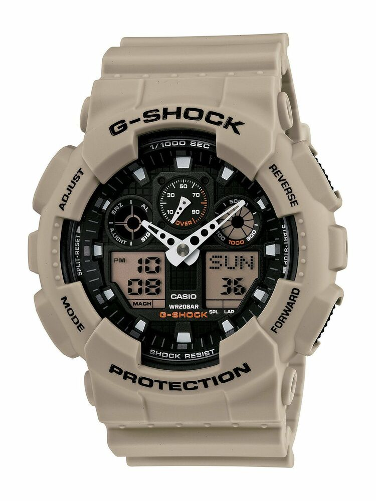 Casio g shock military grey beige analog ditigal sport wrist watch ga100sd 8a 79767913960 ebay for Watches g shock